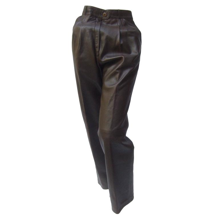 Gucci Italy Brown Leather Vintage Slacks c 1970s 1