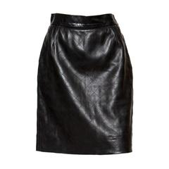 1980s Black Lamb Leather Yves Saint Laurent Skirt