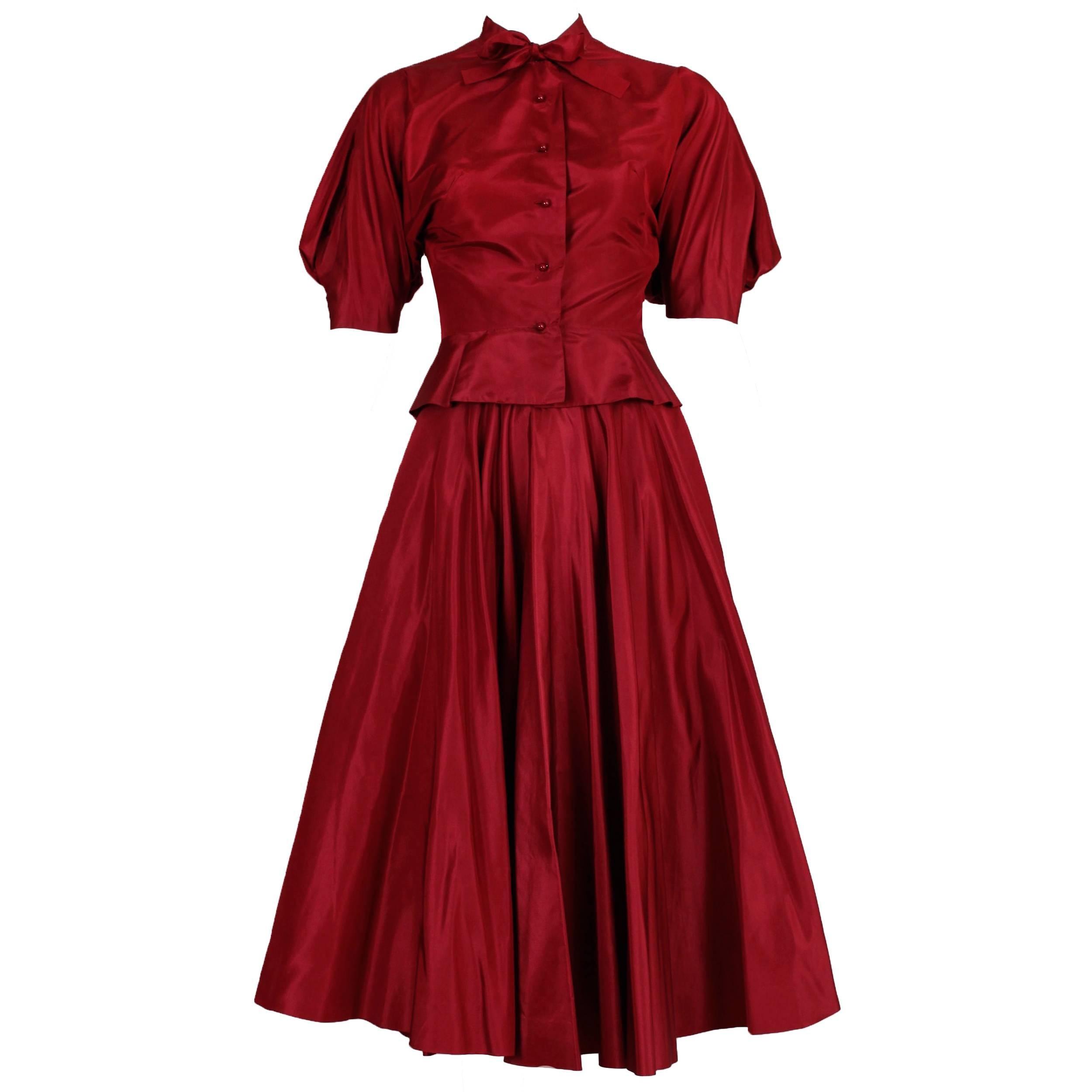 1981 Rare Madame Gres Haute Couture Silk Taffeta Skirt & Blouse Ensemble w/Shoes