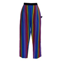 1950s Tina Leser Rainbow Striped Vintage High Waisted Pants w/ Pom Pom Deadstock