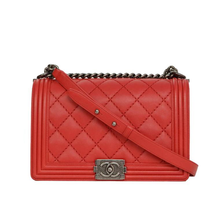 chanel 2014 red lambskin quilted medium boy bag at 1stdibs