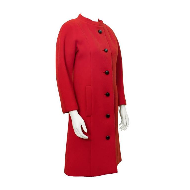 1950's Jacques Heim Red Couture Wool Coat