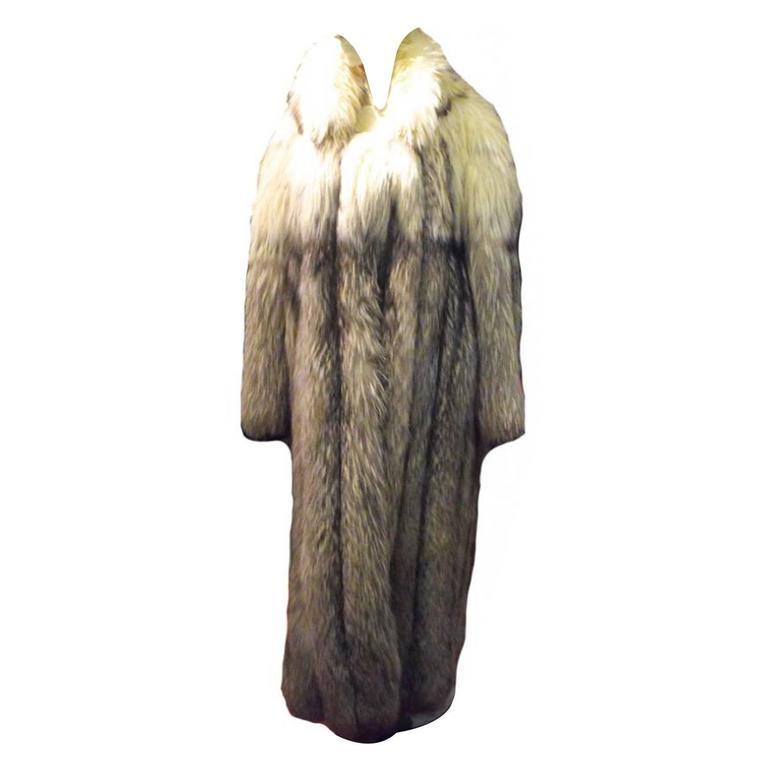 Stunning Womens Blue Fox Fur Coat Size Large-rare 1