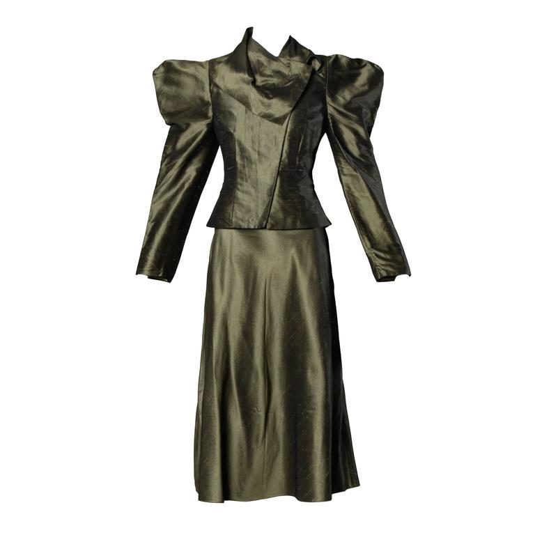 0ea7175399a Chloe Avant Garde Olive Green Silk Jacket + Skirt Suit Ensemble For Sale