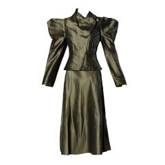 Chloe Avant Garde Olive Green Silk Jacket + Skirt Suit Ensemble