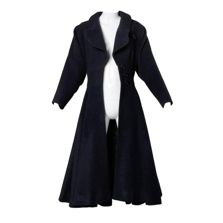 Rare Early Traina-Norell Label 1940s Navy Wool Swing Coat with a Massive Sweep