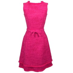 Lanz Original Vintage Dress 1960s Hot Pink Tweed Sleeveless Fringe