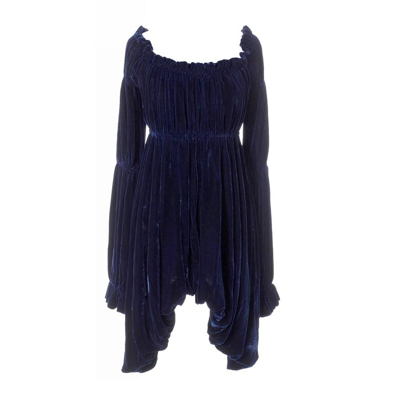 Vintage Norma Kamali 80s Avant Garde Blue Velvet Dress Poet Sleeves  1