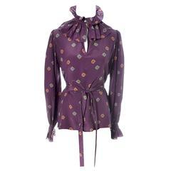 YSL Vintage Silk Blouse Ruffle Bow Sash Yves Saint Laurent Rive Gauche 1970s