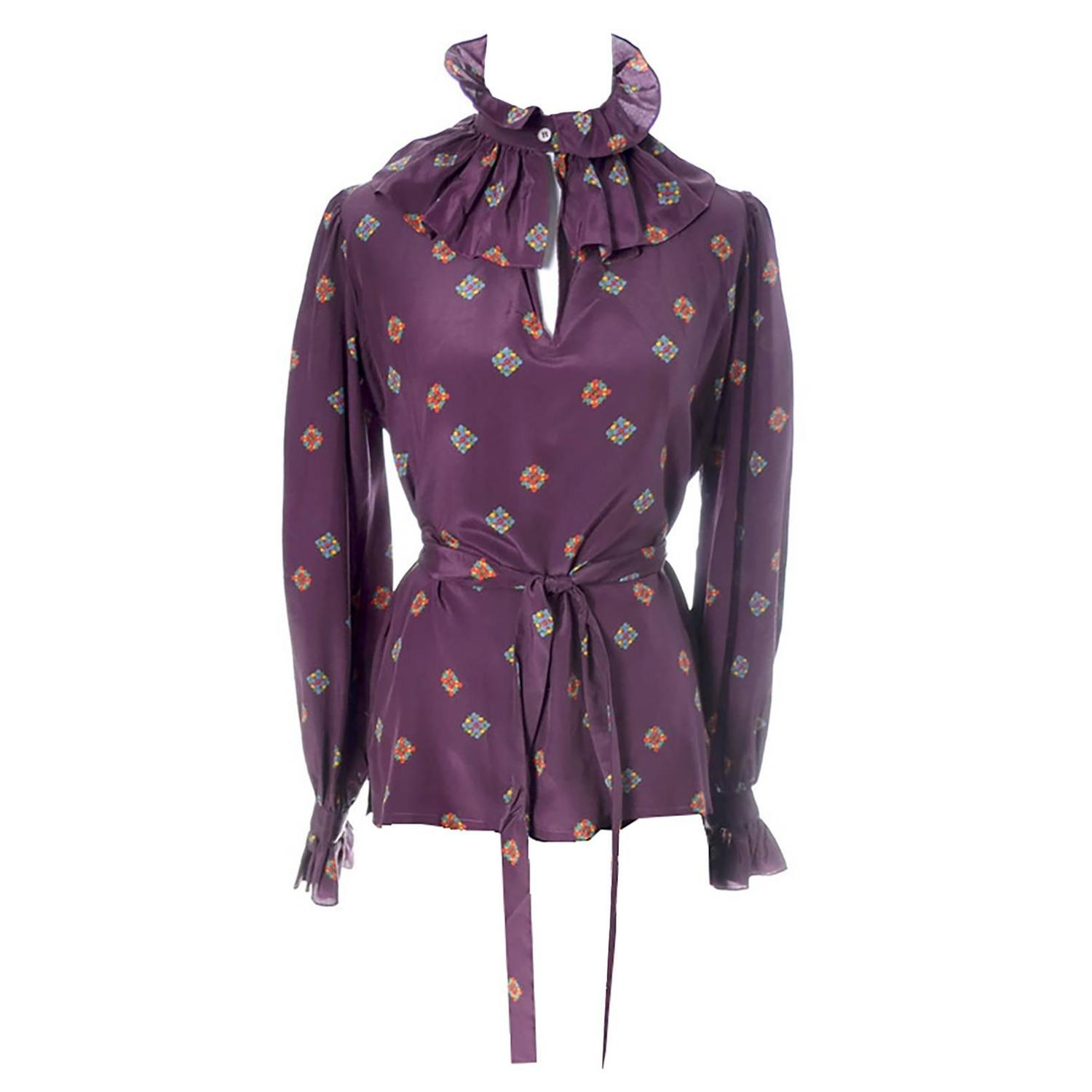 47d79f925d52e YSL Vintage Silk Blouse W Ruffle Bow and Sash Yves Saint Laurent Rive Gauche  1970s For Sale at 1stdibs