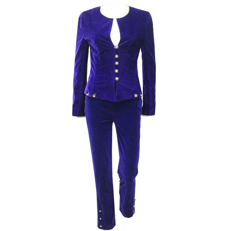 Exceptional Chanel purple velvet pant suit, Fall 1993  For Sale