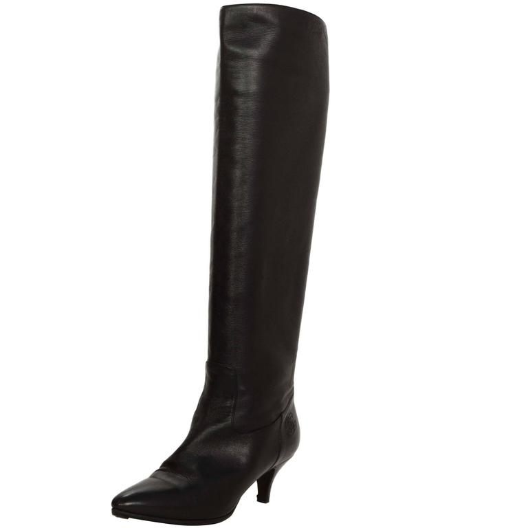 chanel black leather knee high kitten heel boots sz 38 at