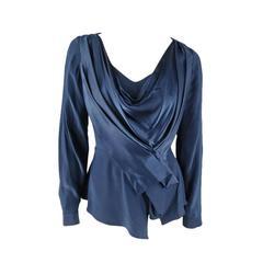OSCAR DE LA RENTA Size 6 Navy Silk Long Sleeved Draped Blouse