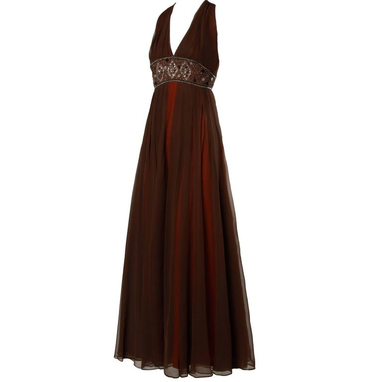 1970s Jack Bryan Vintage Brown Beaded Chiffon Gown with Plunging Neckline 1