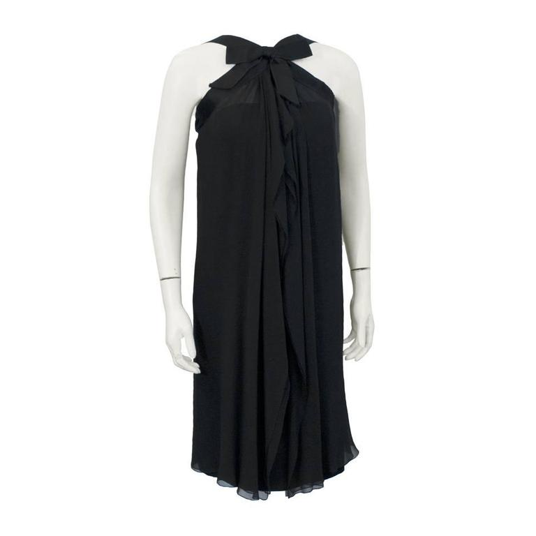 1970's Sarmi Black Demi Couture Cocktail Dress with Bow
