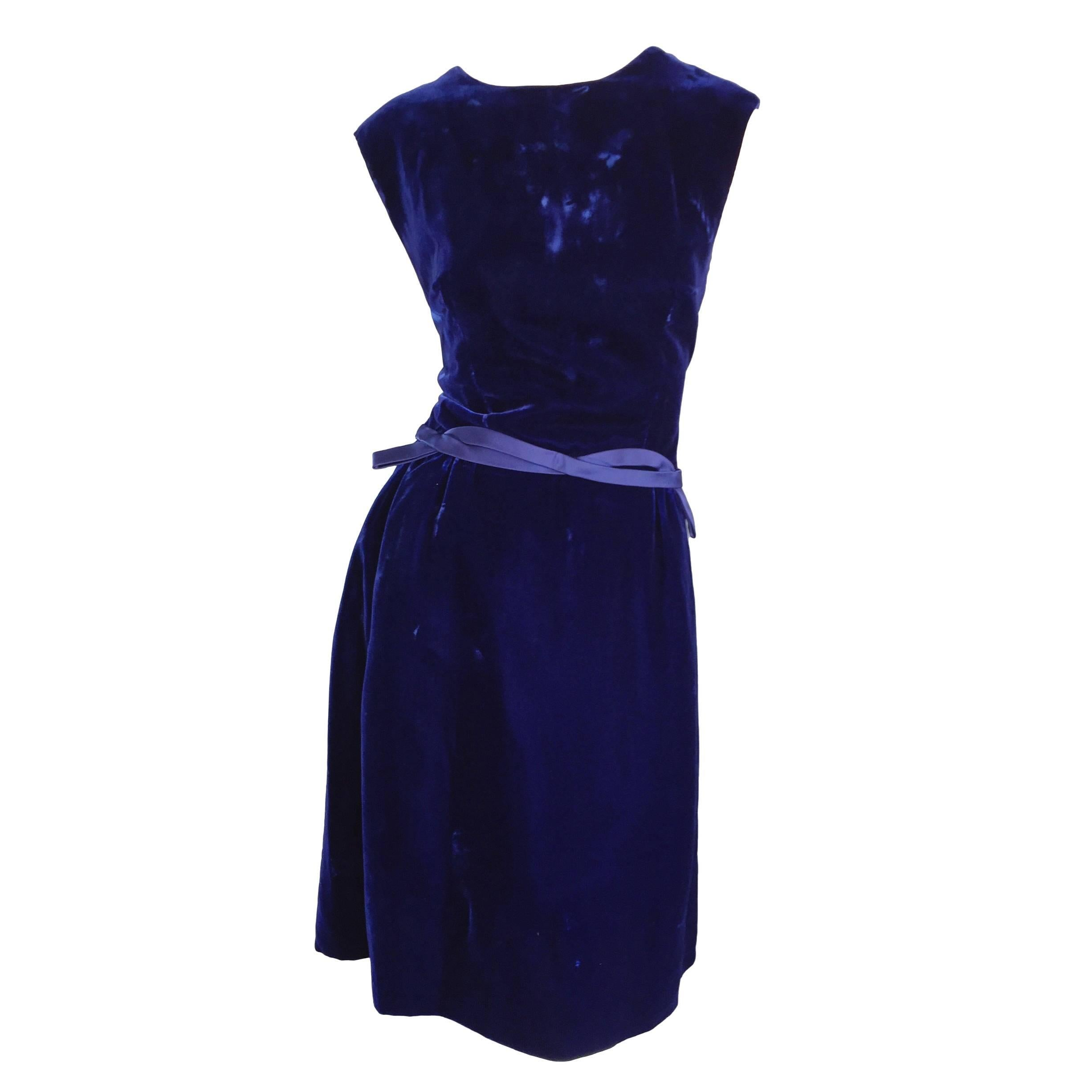 1950s Suzy Perette Royal Blue Velvet 50s Vintage Dress w/ Ribbon Belt Detail