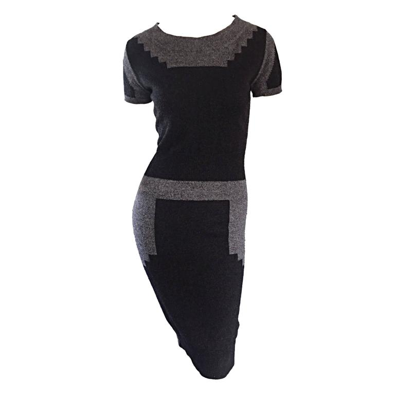 Tom Ford For Yves Saint Laurent Cashmere Dress w/ Gray Geometric Color Blocks 1