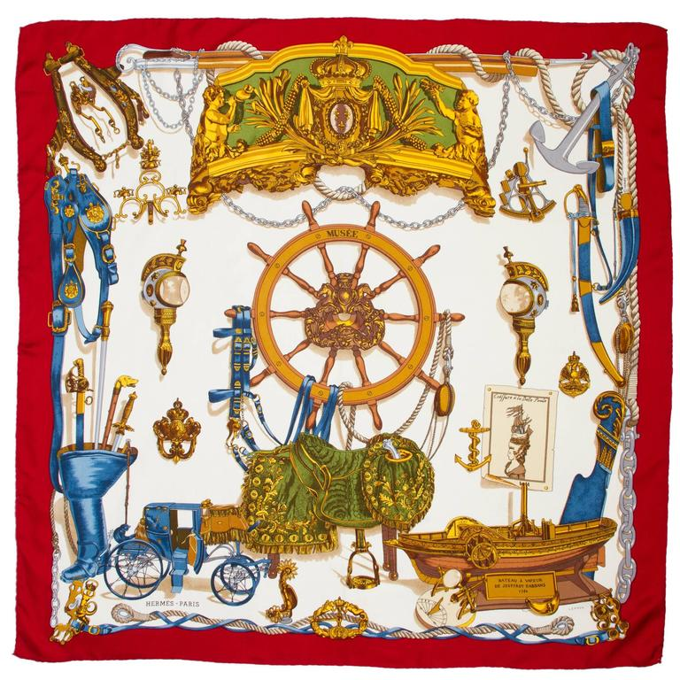 vintage silk hermes scarf quot musee nautical quot at 1stdibs