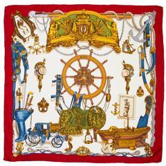 """Vintage Silk Hermes Scarf  """"Musee Nautical"""""""