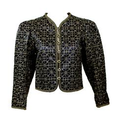 1970s Yves Saint Laurent  Russian Collection Jacket Black Satin Gold Trim