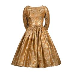 1950s William Pearson Vintage Dress Floral Gold Lame Brocade Full Skirt
