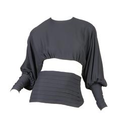 Galanos Black and White Full-Sleeved Top