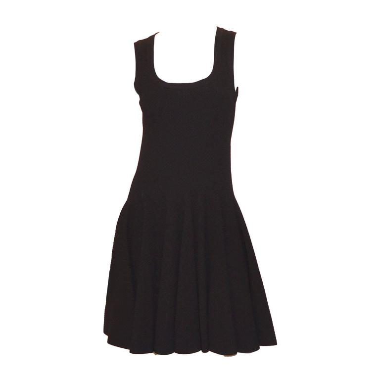 Alaia Black Fit and Flare Stretchy LBD Dress NWT