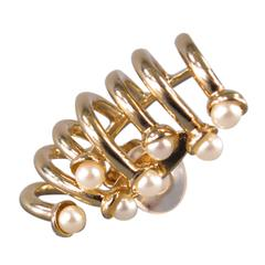 DIOR Gold Pearl Ear Clip On Cuff Earring