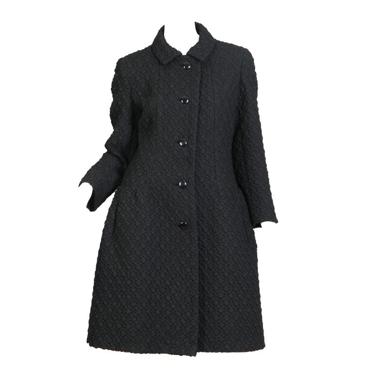 Chic Early 1960s Frank Gallant Wool Coat
