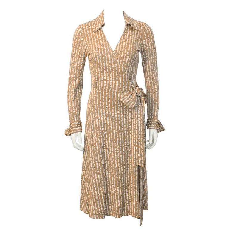 1970's Diane Von Furstenberg Tan Logo Wrap Dress  For Sale