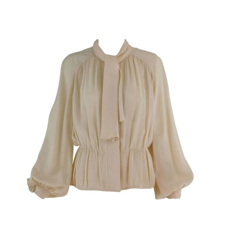Pierre Balmain Haute Couture cream silk pleated tie neck blouse 1950s