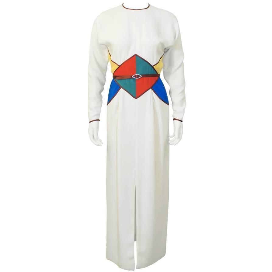 1980's Geoffrey Beene Cream and Jewel Tone Silk Gown