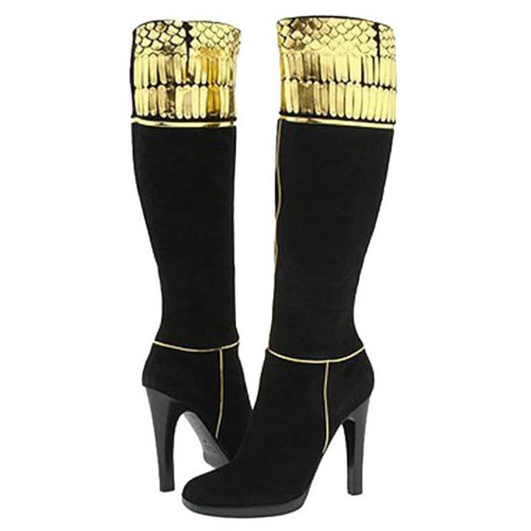 Roberto Cavalli Embellished Black Suede Boots