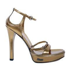 New GUCCI METALLIC BRONZE LEATHER PLATFORM SANDALS