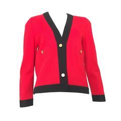 Carven 1960er Jahre Rote & Schwarze Wolljacke, Größe 6
