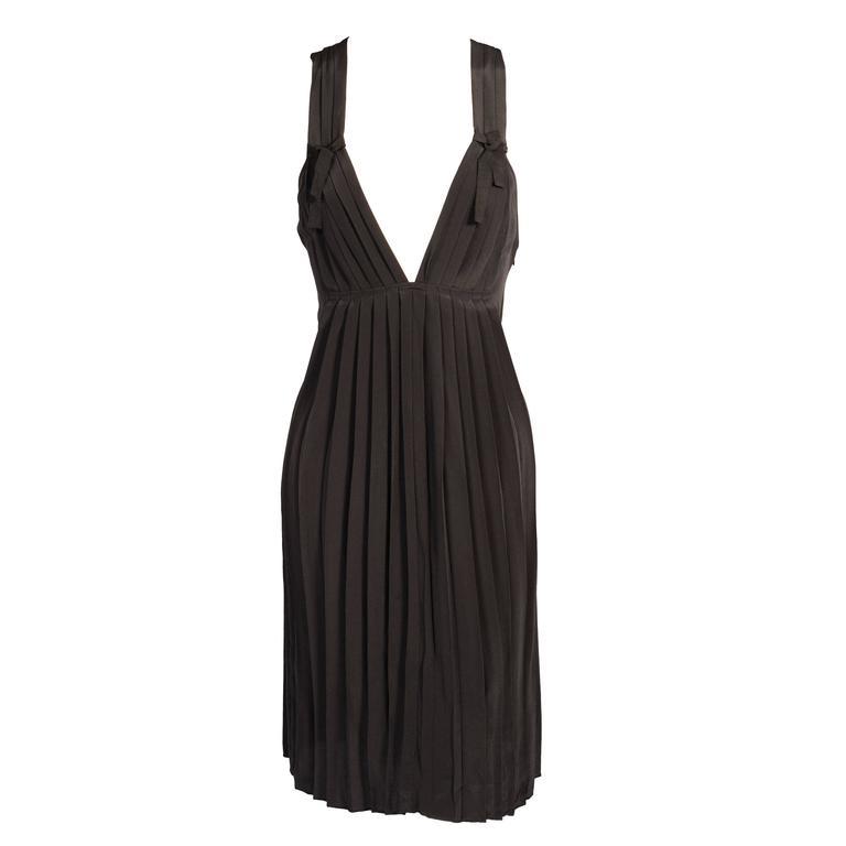 Sonia Rykiel Low Cut Black Silk Dress, Never Worn