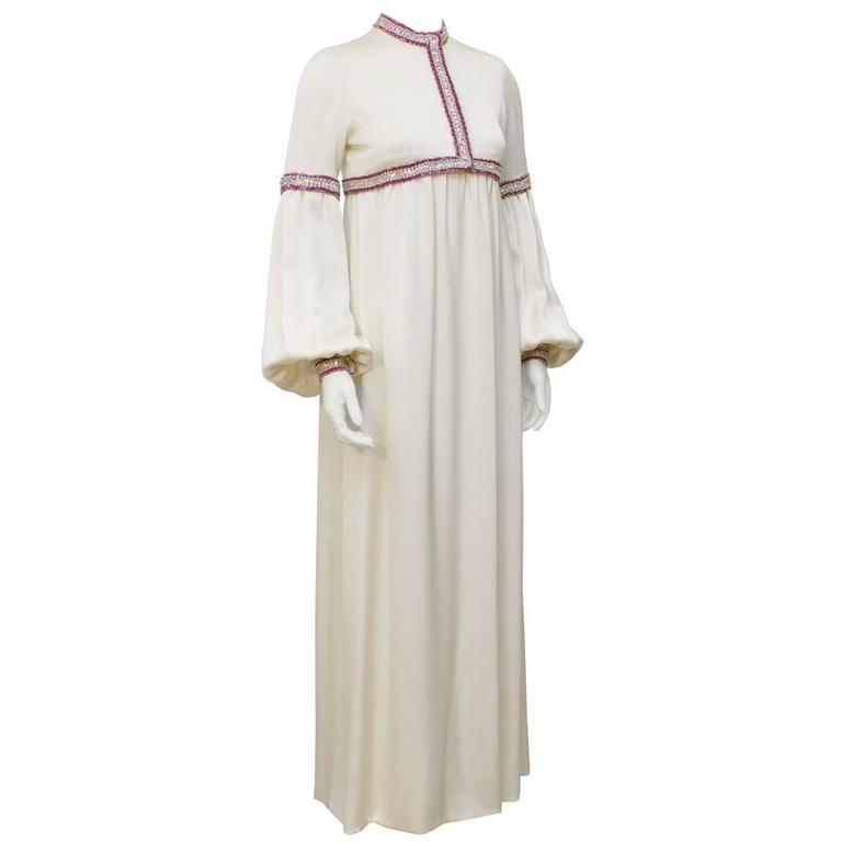 1970's Guy Laroche Haute Couture Cream Silk Beaded Gown