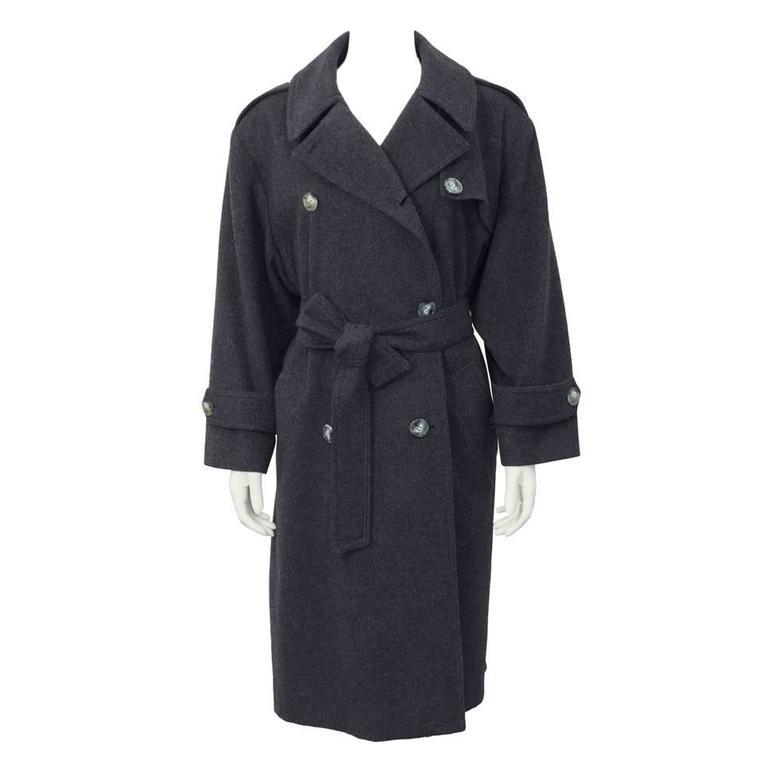 1980s Celine Grey Wool Coat