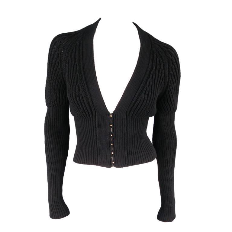 GUCCI Size XS Black Lana Wool Knit Juliet Sleeve Cropped Corset Cardigan 1