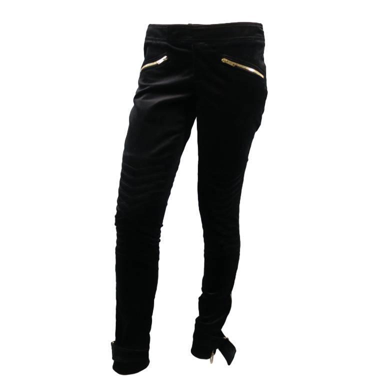 GUCCI Size 4 Black Velvet Biker Detail Gold Zip Ankle Belt Moto Pants 1