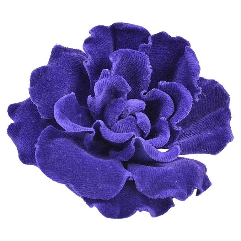 Rare, Fabulous Chanel Velvet Flower Brooch For Sale