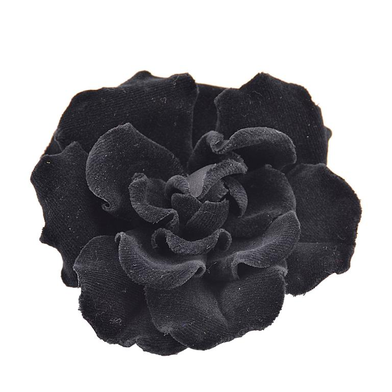 Gorgeous Rare Chanel Large Black Velvet Flower Brooch 1
