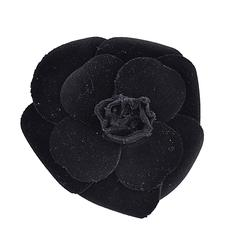 Classic Chanel Large Velvet Flower Brooch