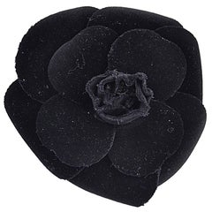 Classic Chanel Large Velvet Flower Brooch