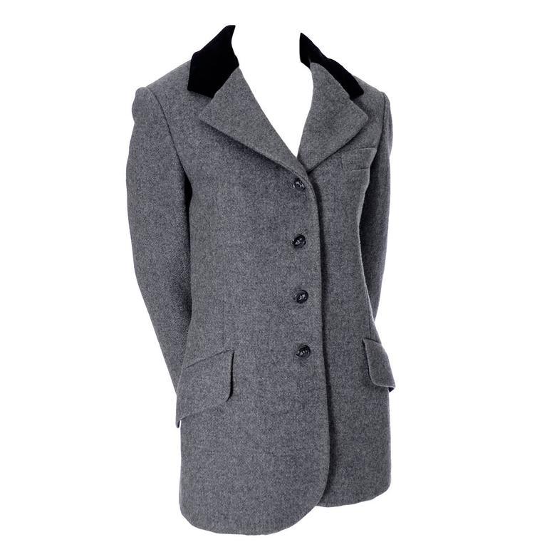 4a066df0cb6 Anne Klein Saks Fifth Avenue Gray Wool Equestrian Style Vintage Blazer  Jacket For Sale