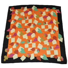 "Matsuda Multi-Color ""Dices & Spade"" Silk Scarf"