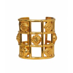 Vintage Chanel Gold Grid Clover Cuff