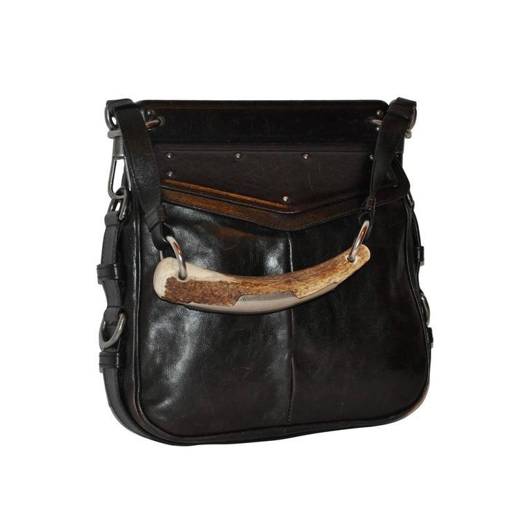 "Yves Saint Laurent Large ""Horn"" Handle Black Calfskin Handbag"