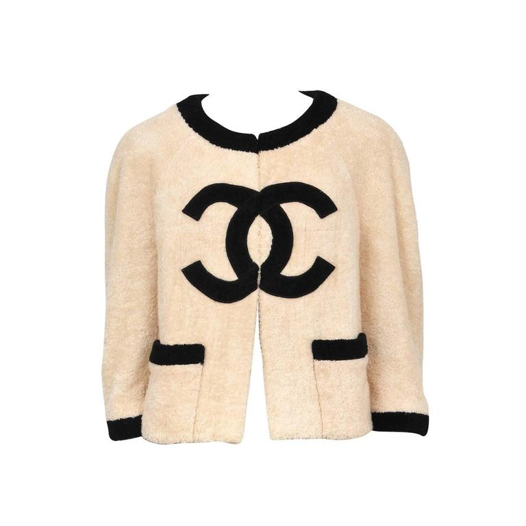 Chanel Peach Terry Cloth Jacket  For Sale