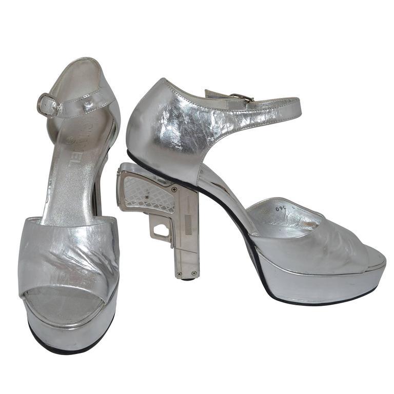Chanel Resort 2009 Metallic Silver Miami Vice Gun Platform Heels